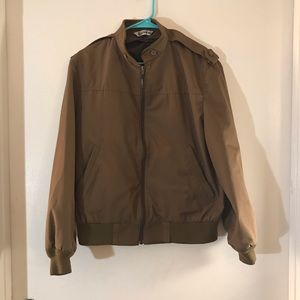 London Fog Brown Bomber Lightweight Zip Jacket